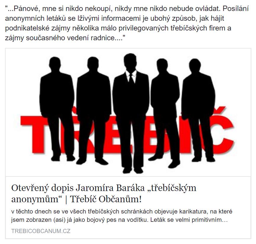 Reakce Jaromíra Baráka na anonymní leták v roce 2014
