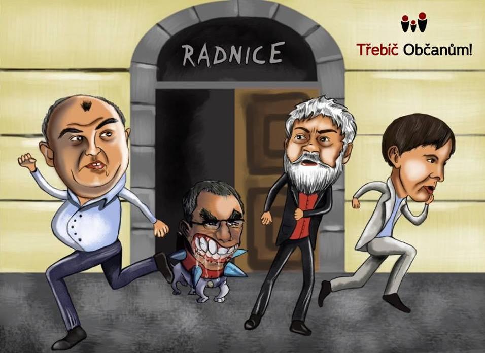 Karikatura, kterou jsme zveřejnili na našem Facebooku jako reakci na pomlouvačný leták, na které byl Jaromír Barák nakreslen jako bojový pes na vodítku, a který se anonymně objevil ve všech poštovních schránkách v Třebíči před komunálními volbami v roce 2014