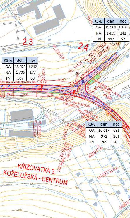 Obchvat Třebíče - varianta průchvat - křižovatka Koželužská x Terovské údolí