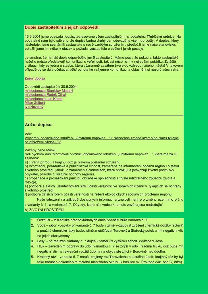 thumbnail of Dopis zastupitelům a jejich odpovědi z roku 2004