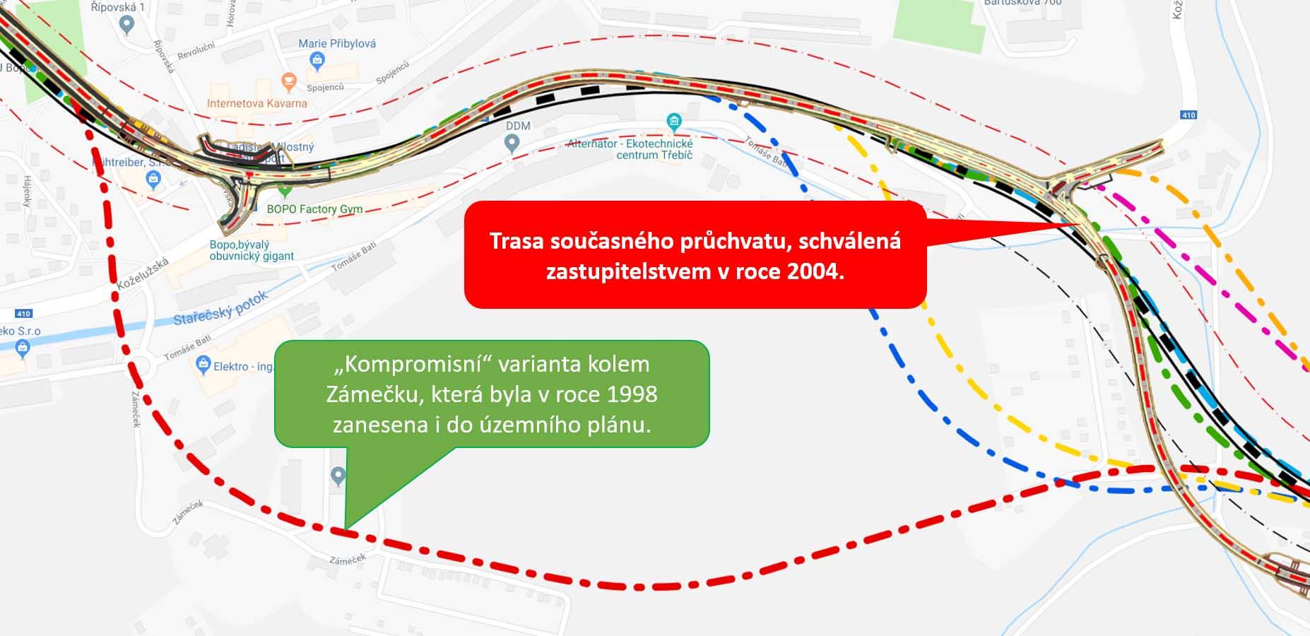 Obchvat Třebíče - trasa z roku 1998 a současný průchvat