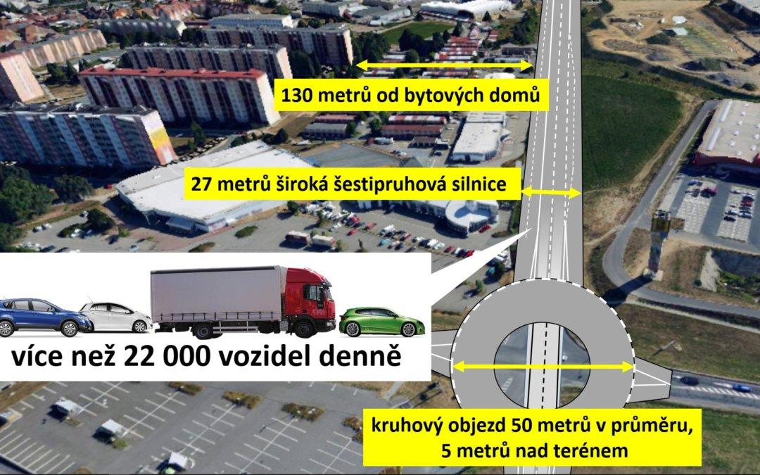 Obchvat Třebíče - ulice Spojovací 22 tisíc aut denně