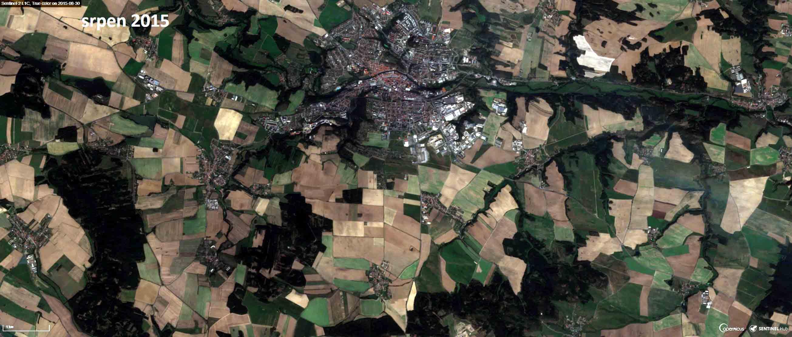 Satelitní snímek Třebíče a okolí z roku 2015