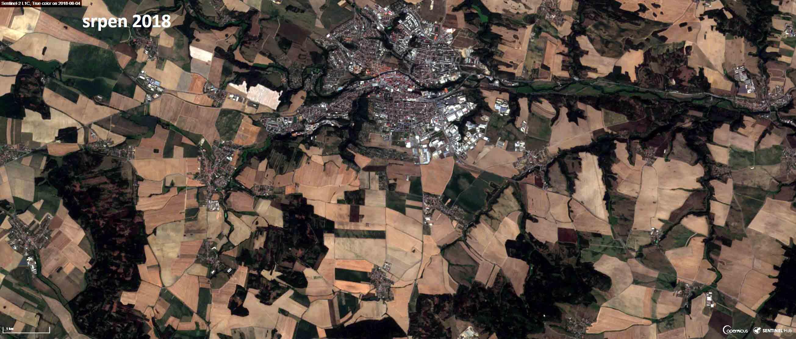 Satelitní snímek Třebíče a okolí ze srpna 2018