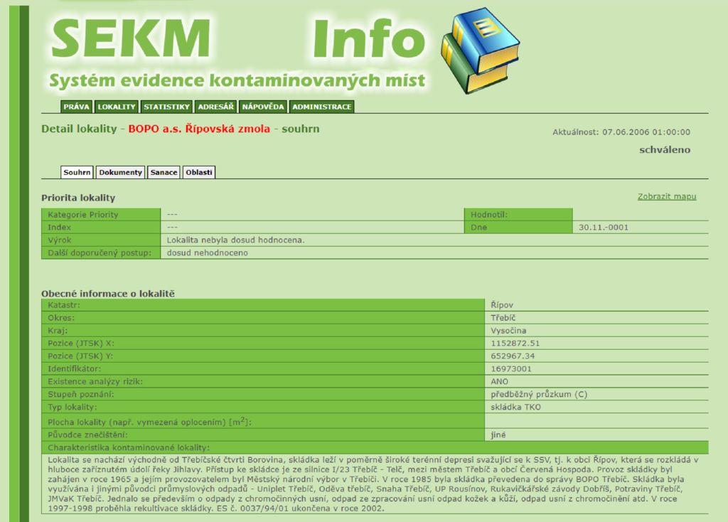 thumbnail of Skládka průmyslových odpadů BOPO a.s. Řípovská zmola – informace z oficiálního webu Ministerstva životního prostředí