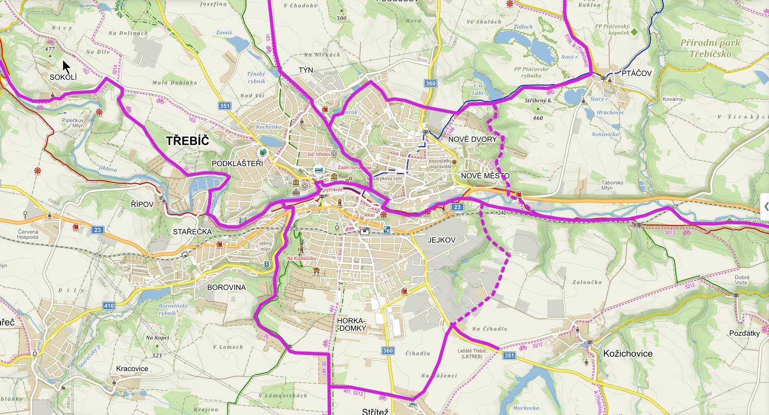 Mapa ukazující možné cyklistické trasy ve městě