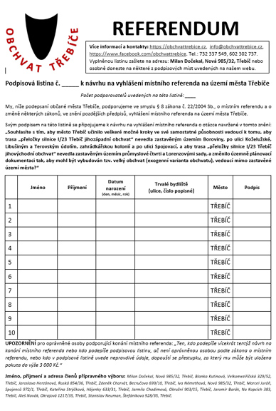 Podpisová listina k návrhu na vyhlášení referenda