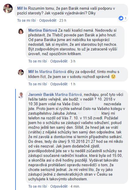 Takto se veřejně vyjádřila Martina Bártová, lídryně společné kandidátky ODS a TnT