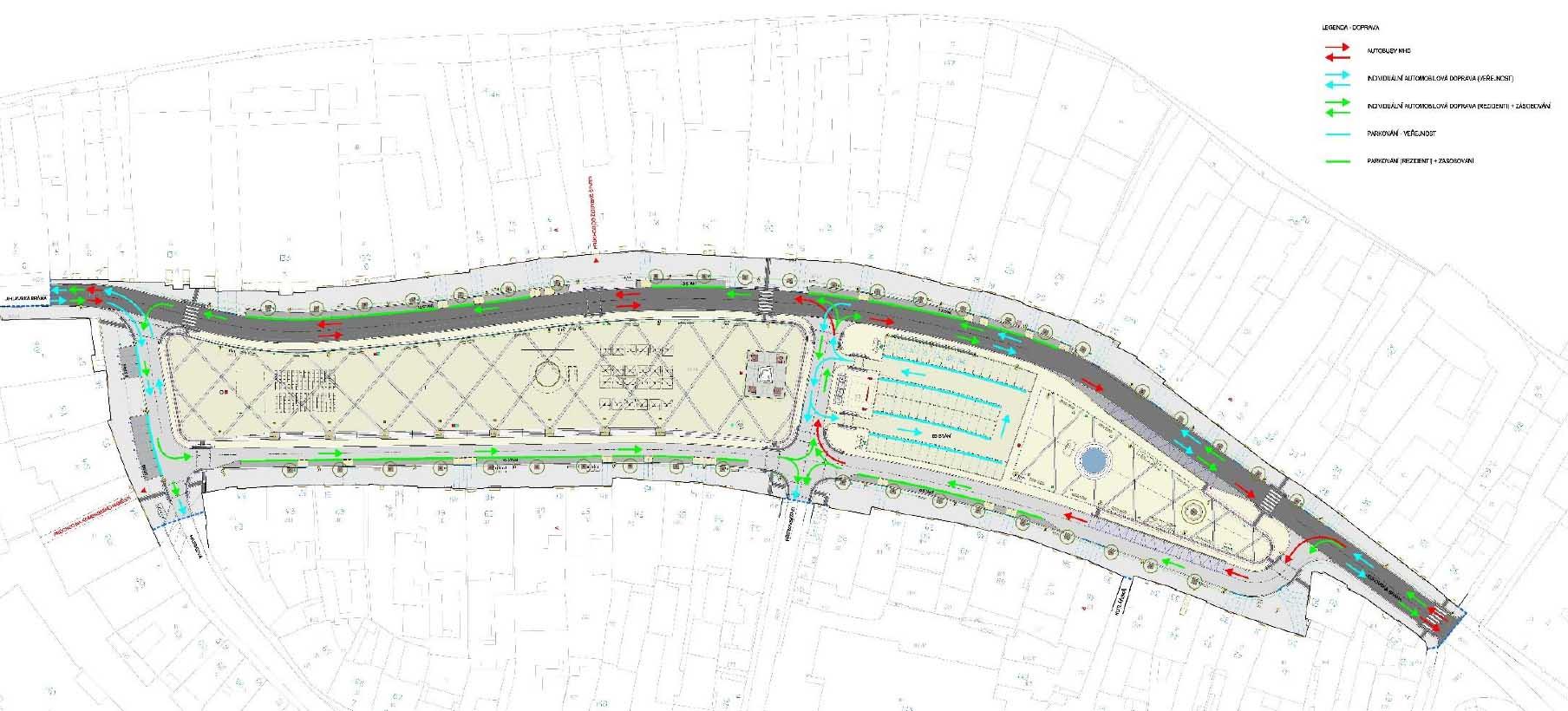 Revitalizace Karlova náměstí - dopravní schéma s vysvětlivkami