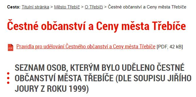 Klement Gottwald je na oficiálních webových stránkách Třebíče stále veden jako čestný občan města