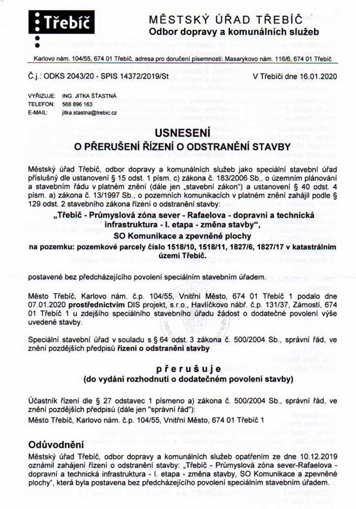 Přerušení řízení o odstranění stavby 16.01.2020