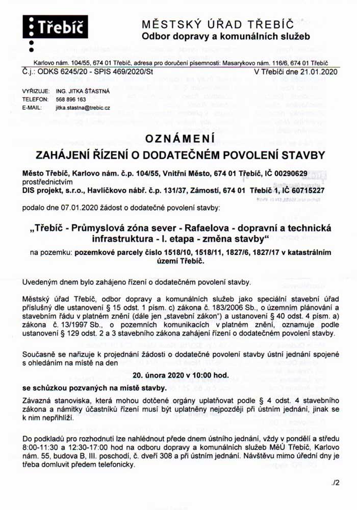 Zahájení řízení o dodatečném povolení stavby 21.01.2020