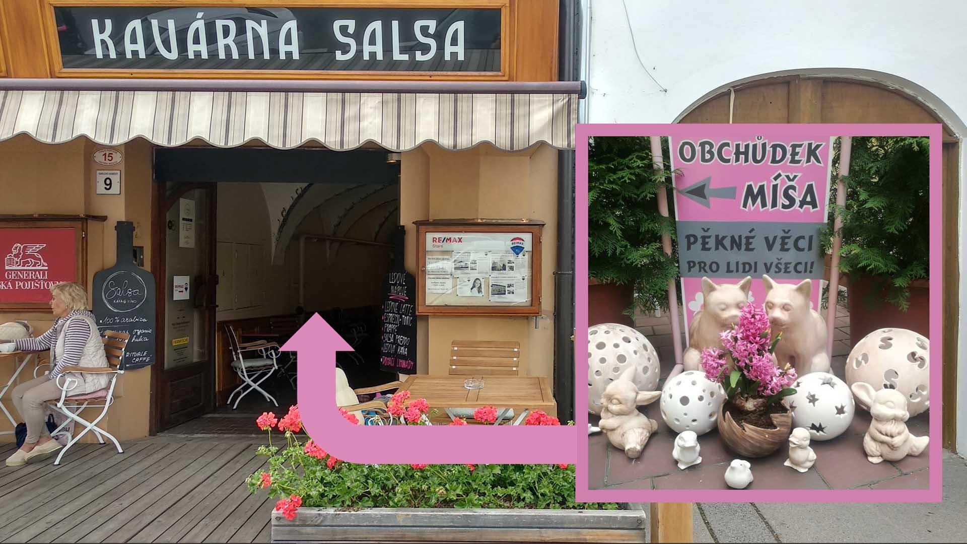 Obchůdek Míša & Míša najdete za kavárnou Salsa na Karlově náměstí v Třebíči